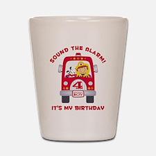 Fire Truck 4th Birthday Boy Shot Glass