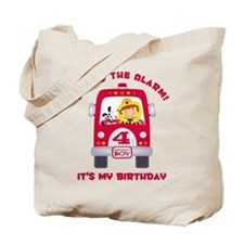 Fire Truck 4th Birthday Boy Tote Bag