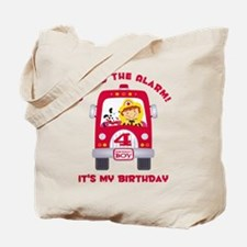 Fire Truck 4th Birthday Boy Tote Bag