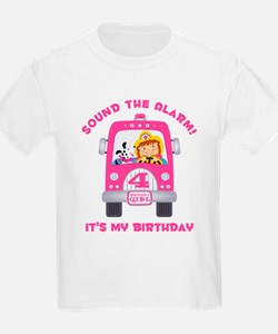 Fire Truck 4th Birthday Girl T-Shirt