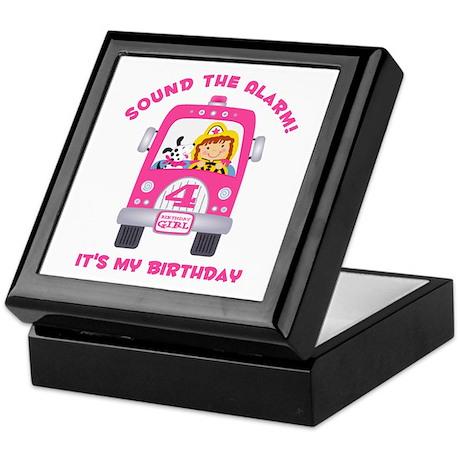 Fire Truck 4th Birthday Girl Keepsake Box