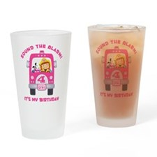 Fire Truck 4th Birthday Girl Drinking Glass