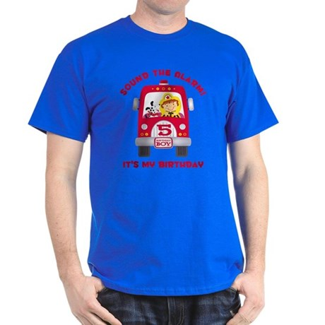 fire truck 5th birthday boy tshirt