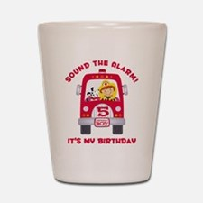 Fire Truck 5th Birthday Boy Shot Glass