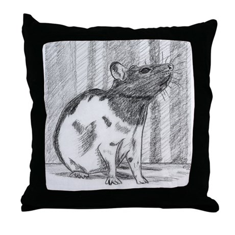 Black hooded Fancy Rat Throw Pillow