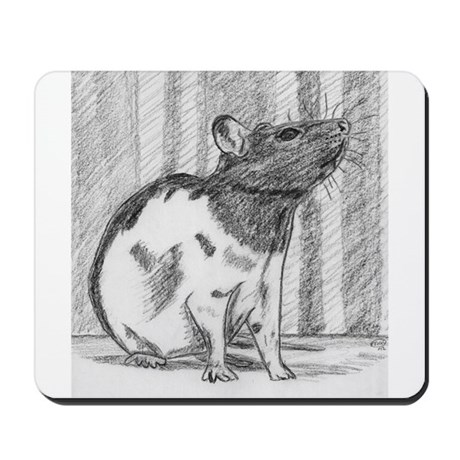 Black hooded Fancy Rat Mousepad