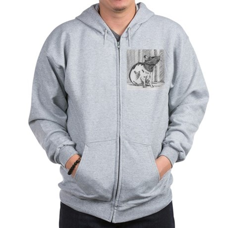 Black hooded Fancy Rat Zip Hoodie