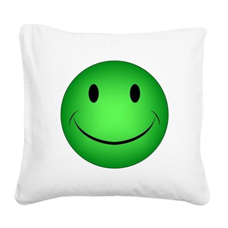 Green Smiley Square Canvas Pillow