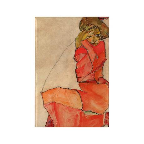 Schiele - Orange Dress Rectangle Magnet