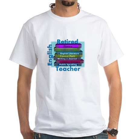 Retired English Teacher BLUE Books.PNG White T-Shi
