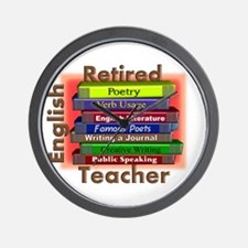 Retired English Teacher Book Stack.PNG Wall Clock