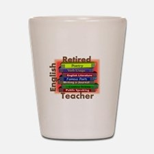 Retired English Teacher Book Stack.PNG Shot Glass