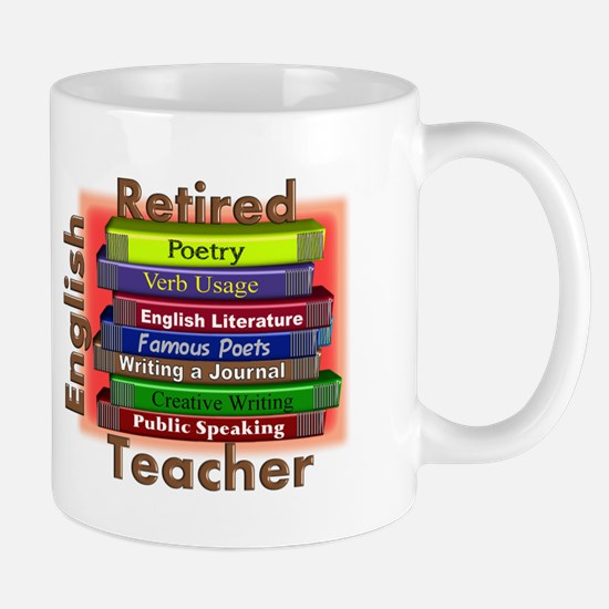 Retired English Teacher Book Stack.PNG Mug