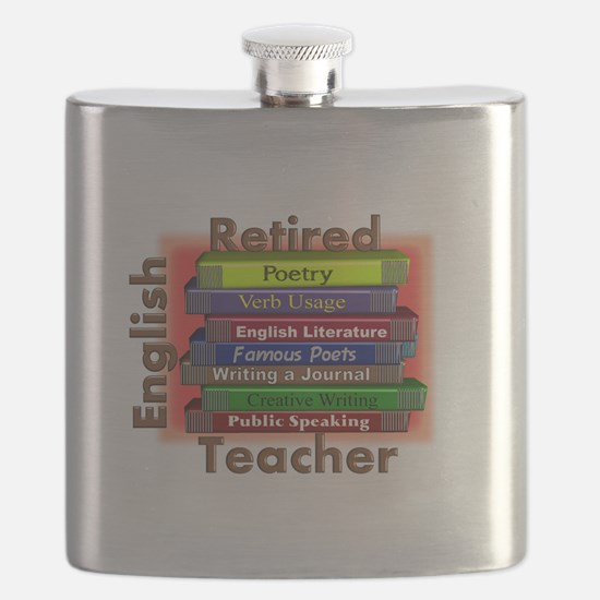 Retired English Teacher Book Stack.PNG Flask