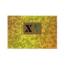 monogram X with lily of the valley Rectangle Magne