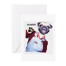 Pug Howdy! Greeting Cards (Pk of 10)