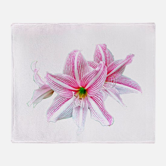 Red Striped Lily On White Throw Blanket