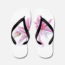 Red Striped Lily On White Flip Flops