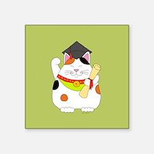 "Graduation Maneki Neko Square Sticker 3"" x 3"""