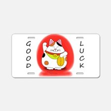 Good Luck Maneki Neko Aluminum License Plate