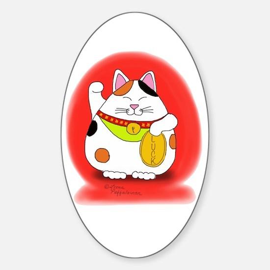Good Luck Maneki Neko Sticker (Oval)
