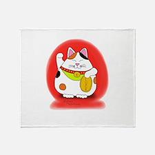 Good Luck Maneki Neko Throw Blanket