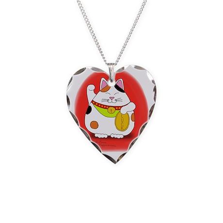 Good Luck Maneki Neko Necklace Heart Charm