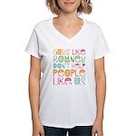 Guys Like Romney Women's V-Neck T-Shirt