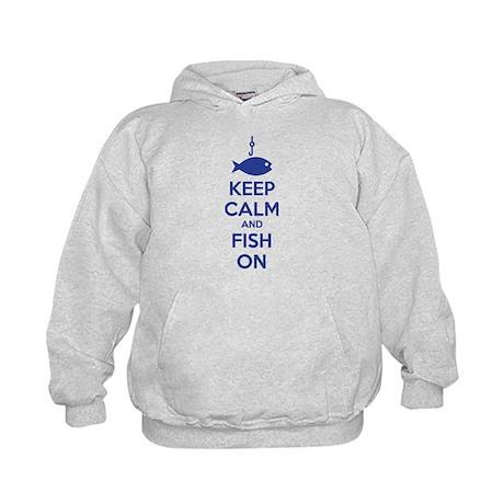 Keep calm and fish on Kids Hoodie