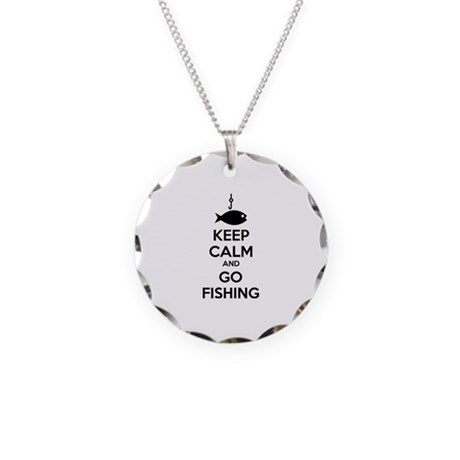 Keep calm and go fishing Necklace Circle Charm