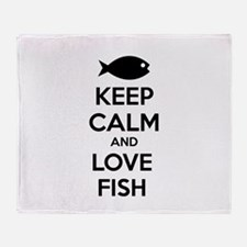 Keep calm and love fish Throw Blanket