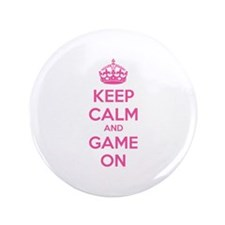 """Keep calm and game on 3.5"""" Button"""
