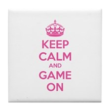 Keep calm and game on Tile Coaster