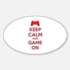 Keep calm and game on Sticker (Oval)
