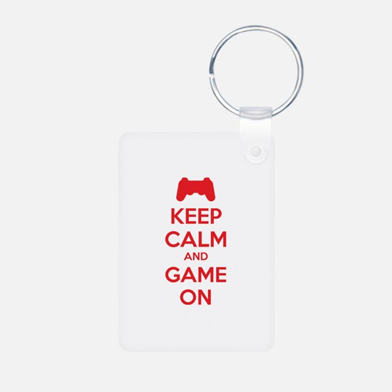 Keep calm and game on Aluminum Photo Keychain