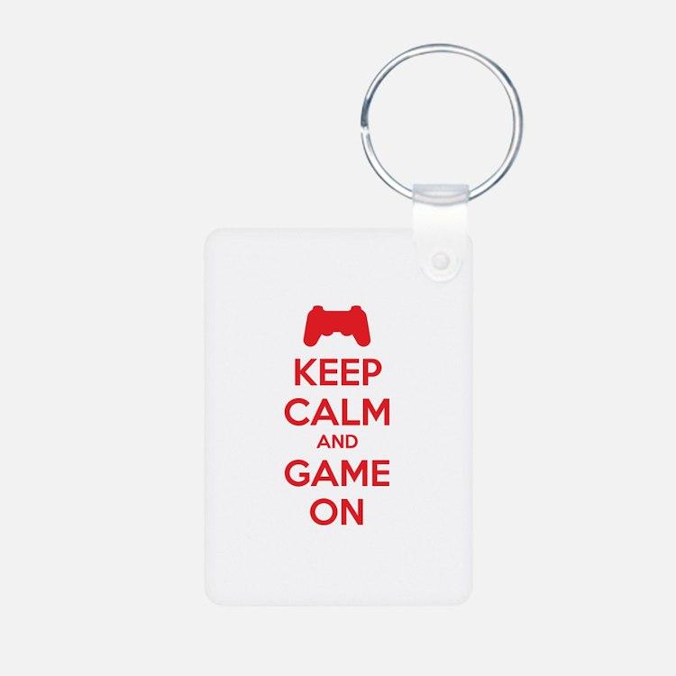 Keep calm and game on Aluminum Photo Keychain