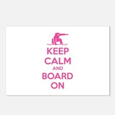 Keep calm and board on Postcards (Package of 8)