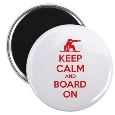 "Keep calm and board on 2.25"" Magnet (100 pack)"