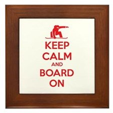 Keep calm and board on Framed Tile
