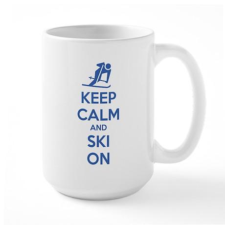 Keep calm and ski on Large Mug