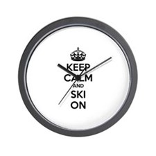 Keep calm and ski on Wall Clock