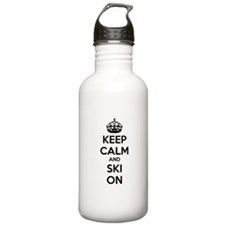 Keep calm and ski on Sports Water Bottle