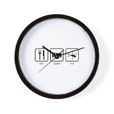 Eat Sleep Fly Wall Clock