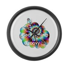 Geocaching is Groovy Large Wall Clock