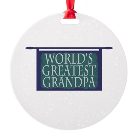 Worlds Greatest Grandpa Round Ornament
