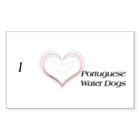 I heart Portugese Water Dogs Rectangle Sticker