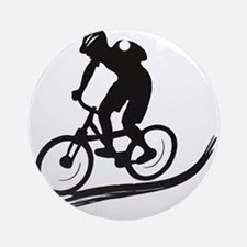 biker mtb mountain bike cycle downhill Ornament (R