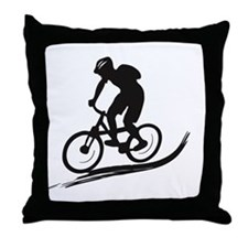 biker mtb mountain bike cycle downhill Throw Pillo