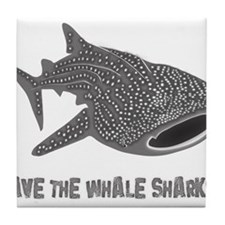 whale shark diver diving scuba Tile Coaster