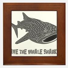 whale shark diver diving scuba Framed Tile